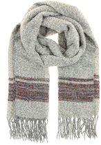 Sjaal zwart met licht grijs met franjes