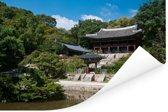 Paviljoen in de tuin bij Changdeokgung in Zuid-Korea Poster 180x120 cm - Foto print op Poster (wanddecoratie woonkamer / slaapkamer) XXL / Groot formaat!