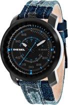 Diesel DZ1748 - Horloge  - Denimleer - Blauw - 46 mm