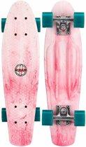 """Nijdam Kunststof Skateboard 22.5"""" - Splash Dye - Licht roze/Petrol"""