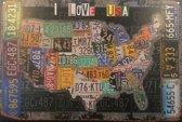 "Retro plaat ""I love USA"""
