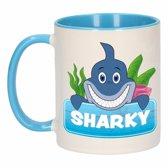 Kinder haaien mok / beker Sharky blauw / wit 300 ml