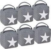 relaxdays 6er set deurstopper ster met handvat - deurstop textiel - deurvastzetter vloer