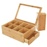 Luxe theedoos met doorzichtig venster van bamboe hout – 9 vaks theekist voor thee - Decopatent®