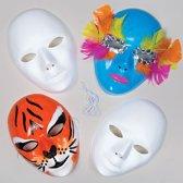 Maak en ontwerp je eigen gezichtmaskers van plastic - creatieve themafeest/theater knutselpakket voor kinderen om in te kleuren en versieren (6 stuks)