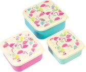 set van 3 koekdoosjes - flamingo Brooddoos / lunchbox