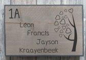Naambordje voordeur steigerhout met witte of antraciete rand | houten naambord 30x20 cm