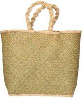 Damestas rieten strandtas naturel 30 cm - Dames handtassen - Shopper - Boodschappentassen