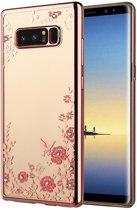 Note 8 Flower Bloemen Case Diamant Crystal TPU Hoesje  - Rose Goud