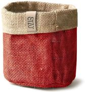 Sizo  Jute bag  | Plantenzak | warm rood Ø 13 cm