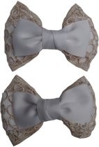 Jessidress Elegante Set van haarclips met grote haarstrik - Wit