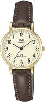 Mooi horloge  met bruin leren band van het merk Q&Q- QZ03J103Y