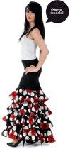 Spaanse Flamenco Luxe Rok - Maat S - Rozen en Volantes - Verkleed Rok