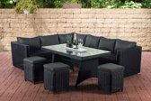 Clp Polyrattan eetgroep SORANO, zithoek met 8 stoelen, rotan hoekbank en 3 rotan krukken, - 5 mm rotan :  zwart kleur bekleding : antraciet