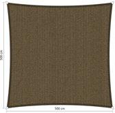 Schaduwdoek. Vierkant 500x500 cm. Japans bruin. Van den Eijnde. Zeer sterk 285 grams/m2 HDPE doek.