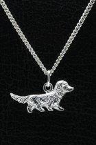 Zilveren Teckel ketting hanger - haar