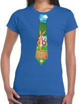 Paashaas stropdas vrolijk Pasen t-shirt blauw voor dames XL