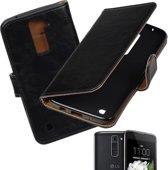 MP Case Zwart vintage lederlook hoesje voor de LG K7 Wallet Case - Booktype - Telefoonhoesje - smartphonehoesje - beschermhoes.