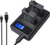 AHDBT-501 Dubbele Batterij Oplader met LCD Scherm voor GoPro HERO 5