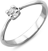Majestine 9 Karaat Ring Witgoud (375) met Diamant 0.05ct Maat 52