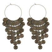 Behave ® - oorsteker dames vintage oud goud kleur met ronde hangertjes