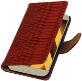 Snake bookstyle / book case/ wallet case Hoes voor Samsung Galaxy A3 2017 A320F Rood