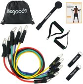 LifeGoods Luxe Fitness Elastiek Set XL - Weerstand Banden - Resistance Power Band Tube - Sport Kabel Pullbands - Inclusief Handvaten, Enkelbanden - Krachttraining Thuis - Voor Benen en Bovenlichaam - Compleet – 11 Stuks