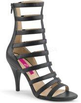 Dream-438 sandaal enkellaars met bandjes en hak mat zwart - (EU 45 = US 14) - Pleaser Pink Label