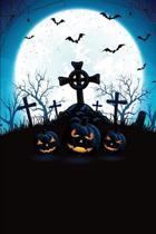 Jack-O-Lantern Bat Graveyard Grid Notebook