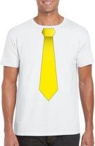 Wit t-shirt met gele stropdas heren M