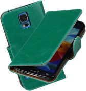 MP Case Groen Vintage lederlook PullUp Map voor de Samsung Galaxy S5 Neo wallet cover - book case - hoesje