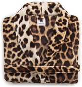 ZoHome Leopard Badjas Lang - Fleece - Maat L - Brown