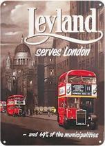 Leyland serves Londen  Metalen wandbord 31,5 x 42,5 cm .