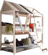 Lifetime Boomhut - Bed - met loopplank - white wash - 102x207cm