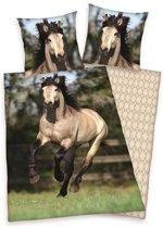 Paard - Flanel - Dekbedovertrek - Eenpersoons - 140x200 cm + 1 kussensloop 60x70 cm - Multi