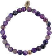 CO88 Collection 8CB-17009 - Armband met tag - staal en agaat natuursteen 6 mm - one-size - paars