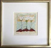 Richard Smeets Schilderij Zeefdruk 'Zonder titel'(30x30) inclusief zilverkleurige lijst
