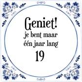 Verjaardag Tegeltje met Spreuk (19 jaar: Geniet! je bent maar ��n jaar 19! + cadeau verpakking & plakhanger