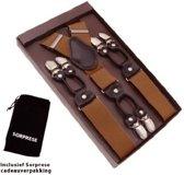 Luxe chique bretels - Roest bruin effen dessin - Sorprese - zwart leer - 6 stevige clips - heren - unisex