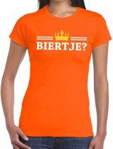 Oranje Biertje en kroon shirt dames S