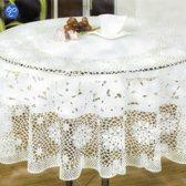 Lavandoux - Vinyl Crochet Rond Tafelkleed Ø182 cm - Wit