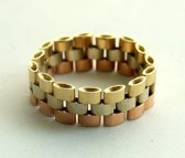 Tricolor gouden flexibele ring