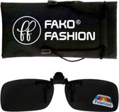 Fako Fashion® - Clip On Voorzet Zonnebril - Polarized - 134x43mm - Grijs