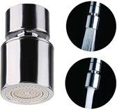 Roterende Kraankop - 2 Stralen - Hoge Kwaliteit - Waterbesparend - Kraan Opzetstuk - Kraankop - Kraan Kop - 360 Graden Draaien - Filter - Meerdere standen -  Sproeikop - Wastafelkraan - RVS - Chrome - Straalregelaar - Zwenkelbaar