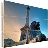 Monumenten op het Trafalgar Square in Londen Vurenhout met planken 90x60 cm - Foto print op Hout (Wanddecoratie)