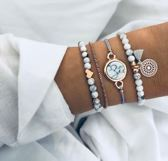 Nr. 2 - Set armbanden - marmer - love - hartje - mandala - 4 delig - Dames - Goudkleurig - 18 cm - Armband - © Tibri (C)