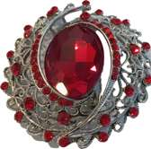 Broche rood zilverkleurig met strass