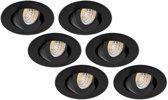 Groenovatie Inbouwspot LED - 3W - Rond - Kantelbaar - Dimbaar - 6-Pack - Zwart