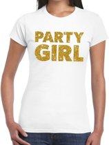 Party Girl gouden glitter tekst t-shirt wit dames - dames shirt Party Girl 2XL