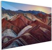 FotoCadeau.nl - Danxia landschap China Glas 120x80 cm - Foto print op Glas (Plexiglas wanddecoratie)